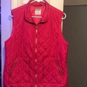 Hot pink old navy puffer vest